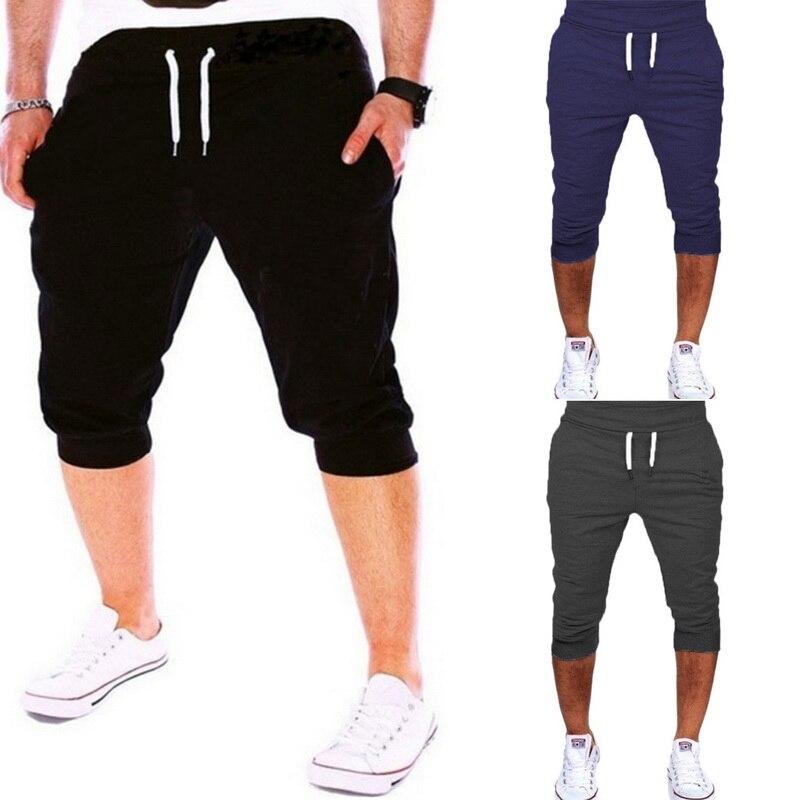 c2dbc3934e7ea7 NIBESSER 2018 New Mens Knee Length Shorts Casual Jogger Slim Harem Shorts  Male Casual Soft Cotton Sweatpants Trousers Plus size