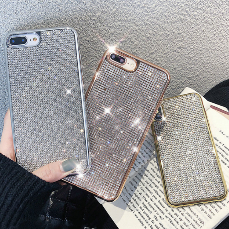 Bling Crystal Shining Diamond Phone Case For IPhone X XR XS MAX Glitter Fancy Case For