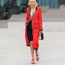Kobiety długi sweter 2019 Runway projektant V neck pojedyncze łuszcz kieszenie czerwony sweter ponadgabarytowych sweter z dzianiny płaszcz znosić