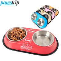 Pawstrip 2 Size Double Pet Dog Bowl Stainless Steel Puppy Food Bowl Chihuahua Small Dog Water