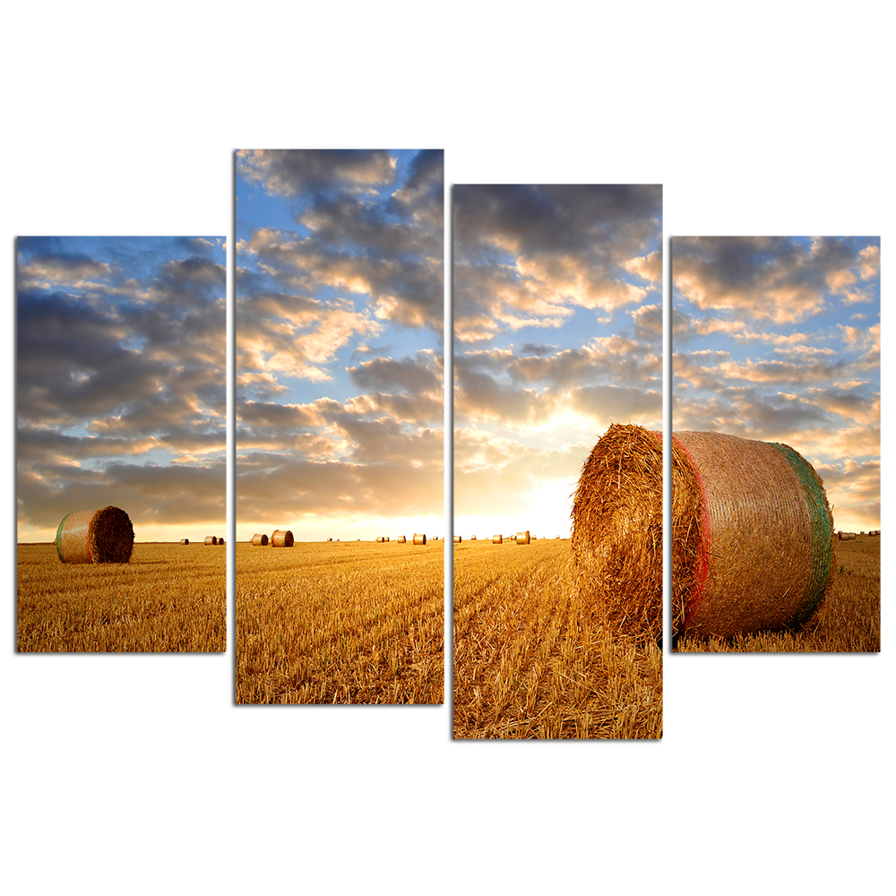 4 Pieces Golden Sunrise Over Farm Field With Hay Bales Harvest Theme Canvas Art Prints For Living Room Modern Home Decor