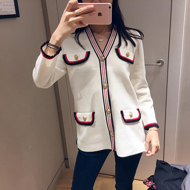 Women Sweater 2019 Spring and Summer Contrast Color Casual V neck Cardigan Coat