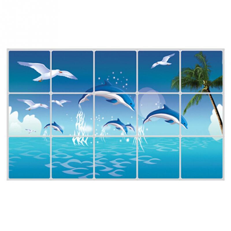 Bañ Con Delfines | Decorativos Azulejos Del Bano Etiqueta De Delfines Cocina A Prueba
