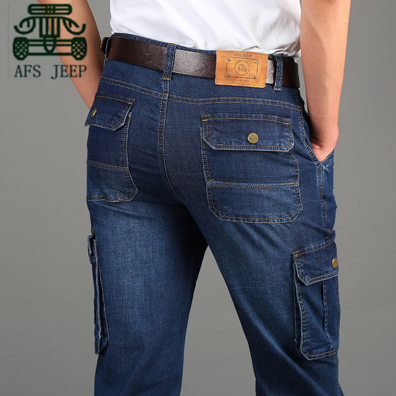 AFS JEEP 2016 Autumn Man's Mutil Pockets Jeans, Casual Design Cotton Thick Cargo Mans Overall,Blue color leg pockets denim jeans afs jeep chariot 2016 autumn man s denim cotton jeans back pockets fashion man s leisure mid waist jeans fall cow boy s jeans