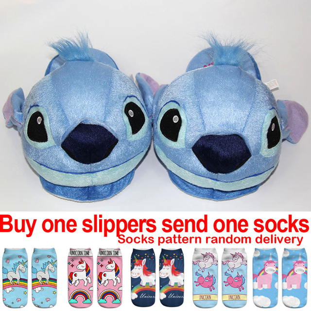 e95445c907a Stitch Slippers Kids Winter Warm Plush Baby Boy Girls Slippers New Cotton  Children Home Shoes