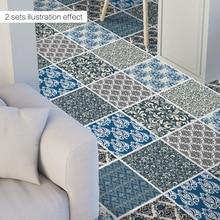 4pcs 50x50cm Hot New 2019 Waterproof Anti-slip Damascus Style Living Bedroom Bathroom Floor Wall Sticker Mat Home Decor Supply