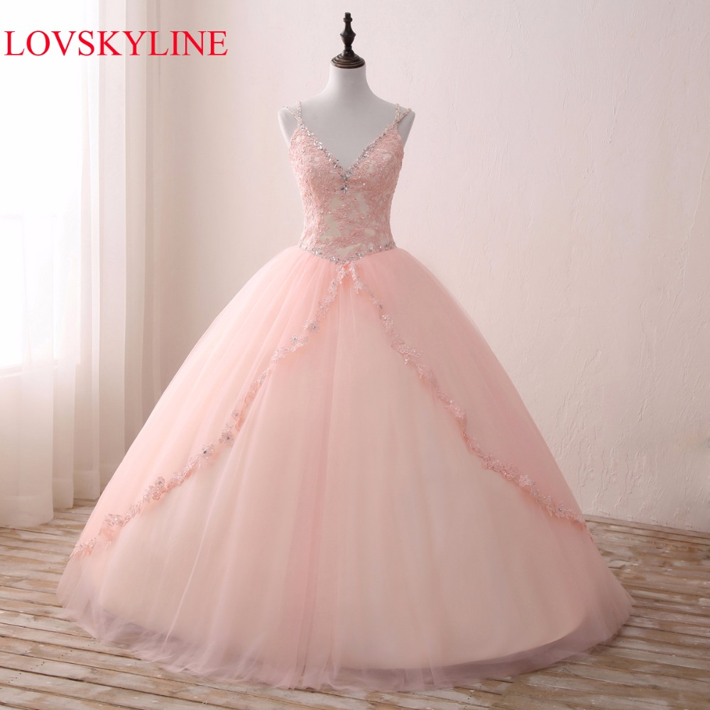 LOVSKYLINE Hot Elegant V-NECK Wedding Dress 2017 Pink Actual Picture Lace Embroidery Crystal Beads Custom Size vestido de noiva