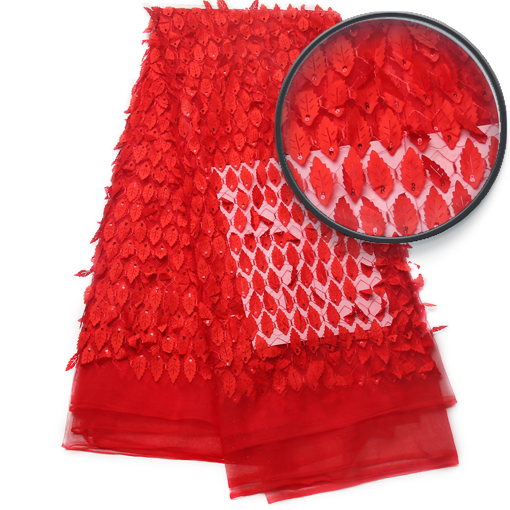 High Quality Nigerian 3D Wedding Lace Fabric Red Latest African Laces 2017 French Net Lace Fabric
