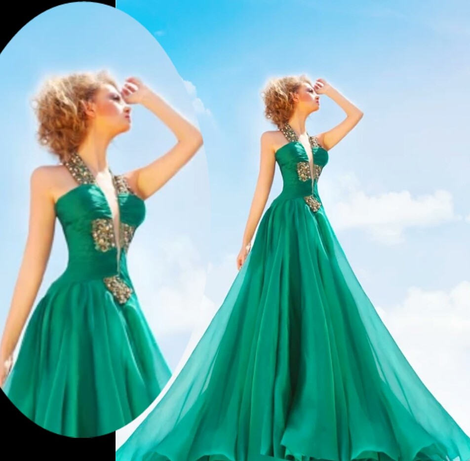 Gorgeous Long Evening Dresses A-Line Halter Neck Floor-Length Gold Beaded Robe De Soiree Green Chiffon Evening Dress