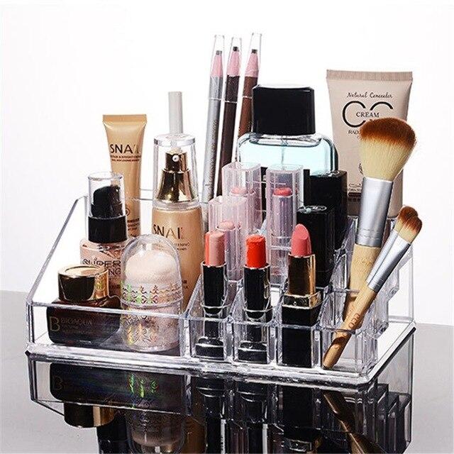 Acrylic Makeup Organizer  Plexiglass Lipstick Rack for Gils 16 Grid Fashion Cosmetic Box Nail Polish Organizer Women Gift Box