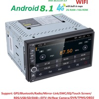 Hizpo Quad Core 7 2 Din Android 8.1 Car NO DVD Radio Multimedia Player 1024*600 Universal GPS Navigation autoradio Stereo Audio
