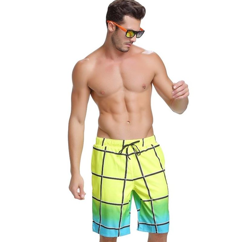 2018 Plaid Quick Dry Surf Board Beach Shorts Men Swim Bathing Suit Trunks Drawstring Swimwear Large size Swimsuit Sports Pants
