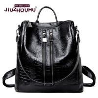 Alligator Pattern Women S Korean Style Backpack Big Volume Travel Double Shoulder Bag 2017 Hot Sale