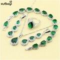 XUTAAYI Color de Sistemas de La Joyería de Plata de Calidad Superior Verde Esmeralda de Lujo Imitado Collar/Anillos/Pendientes/Pulsera de La Joyería de La Boda