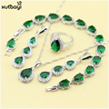 XUTAAYI Top Quality Silver Color Jewelry Sets Green Imitated Emerald Fancy Necklace/Rings/Earrings/Bracelet Wedding Jewelry