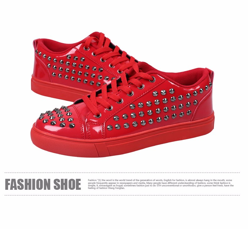 Fashion Patent Leather Men\'s Loubuten Shoes Zapatillas Superstar Casual Low Top Rivets Men Shoes Size 39-44 Round Toe Flats F13 (9)