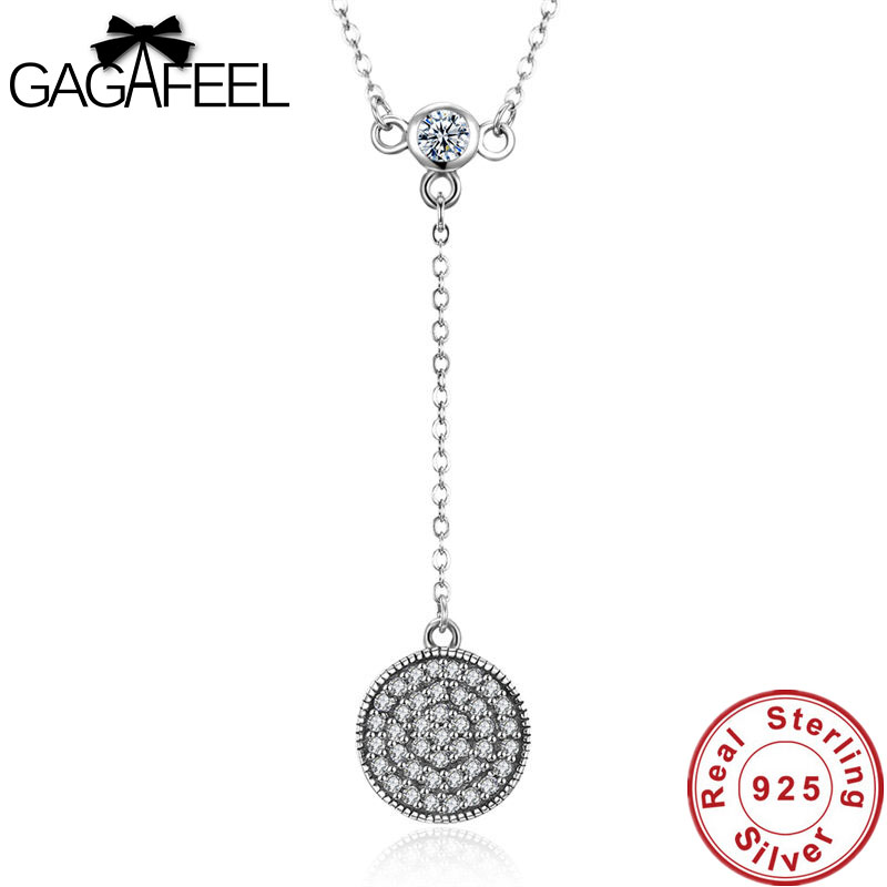 Gagafeel Real 925 Sterling Silver Clear Round Shape Necklaces CZ Pendant for Women Anniversary Wedding Party Girls Jewelry Charm