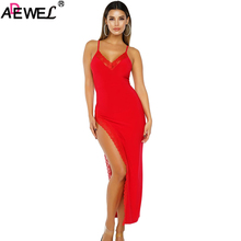 ADEWEL 2019 Side Slit Lace Trim Party Dress Black Red V Neck Spaghetti Straps Women Long Summer Dresses Bodycon Sexy Maxi Dress velvet lace trim slit cami dress