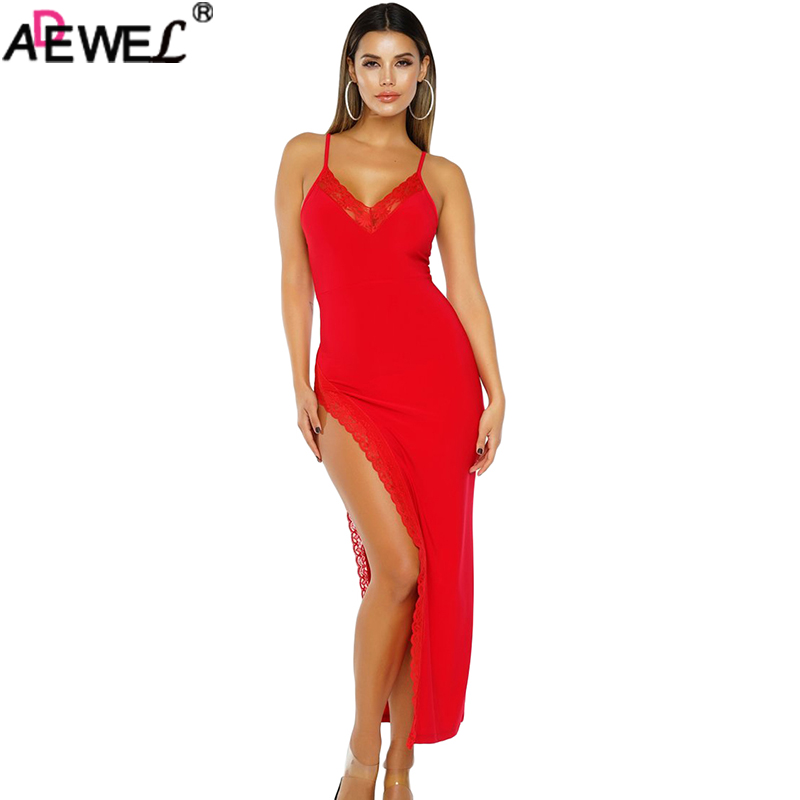 ADEWEL <font><b>2019</b></font> Side Slit Lace Trim Party <font><b>Dress</b></font> <font><b>Black</b></font> Red V Neck Spaghetti Straps Women Long <font><b>Summer</b></font> <font><b>Dresses</b></font> <font><b>Bodycon</b></font> <font><b>Sexy</b></font> Maxi <font><b>Dress</b></font> image