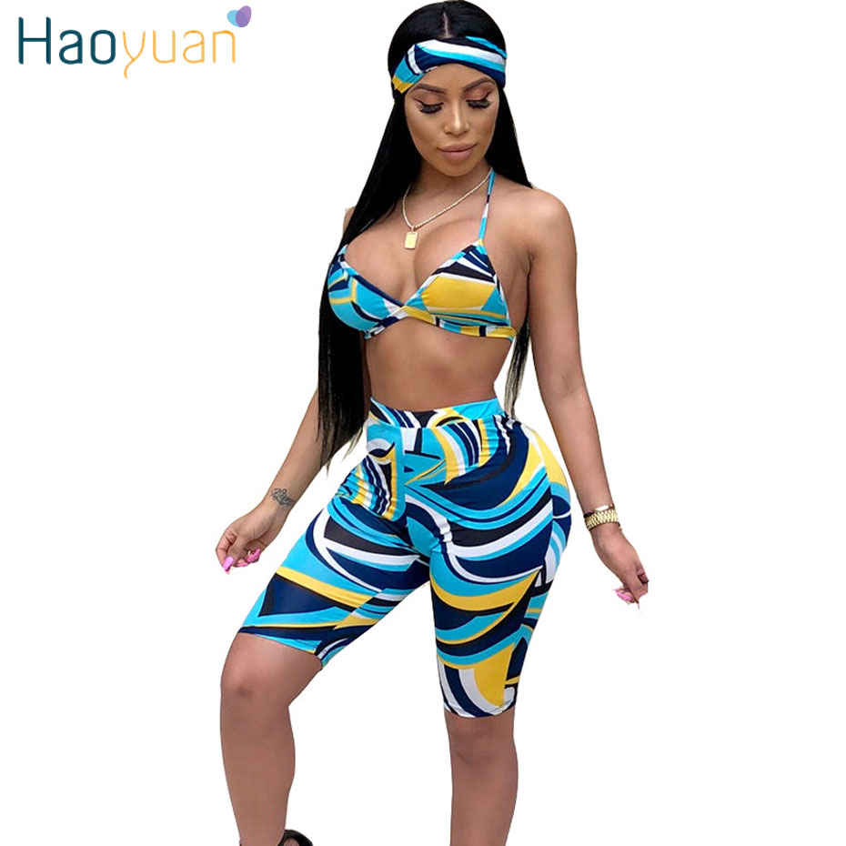 HAOYUAN Sexy 3 Piece Set Women Head Scarf+Crop Tops+Bodycon Shorts Sweat Suits Boho Beach Summer Outfits Three Piece Tracksuit