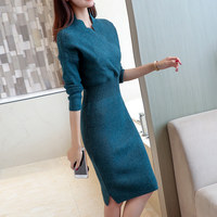 Autumn Winter Knitted Sweater Dress Women Long Sleeve Pullover Dress Pull Femme Knitwear Elegant Ladies Long Bodycon Dress C4930