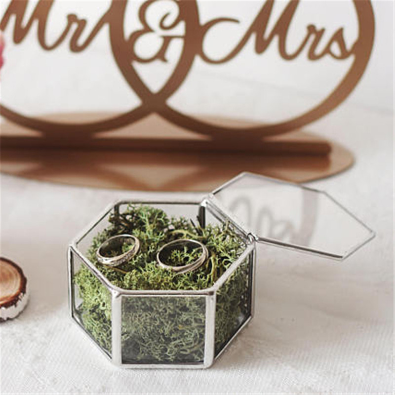Mini Hexagon Geometric Wedding Ring Box Ring Bearer Box Tabletop Succulent Plants Planter Wedding Decoration5