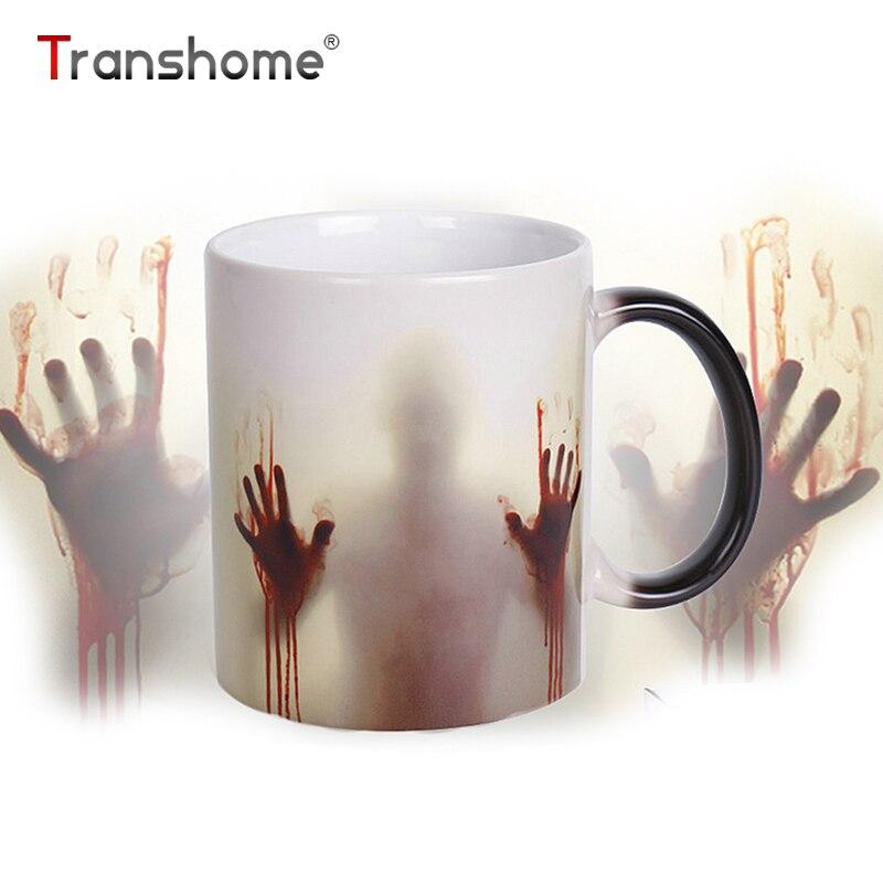 Transhome Walking Dead Farbwechsel Kaffeetasse 350 ml Blutige Hände Design Wärmeempfindlichen Magie Kaffeetassen Geschenke Die Richtige tasse