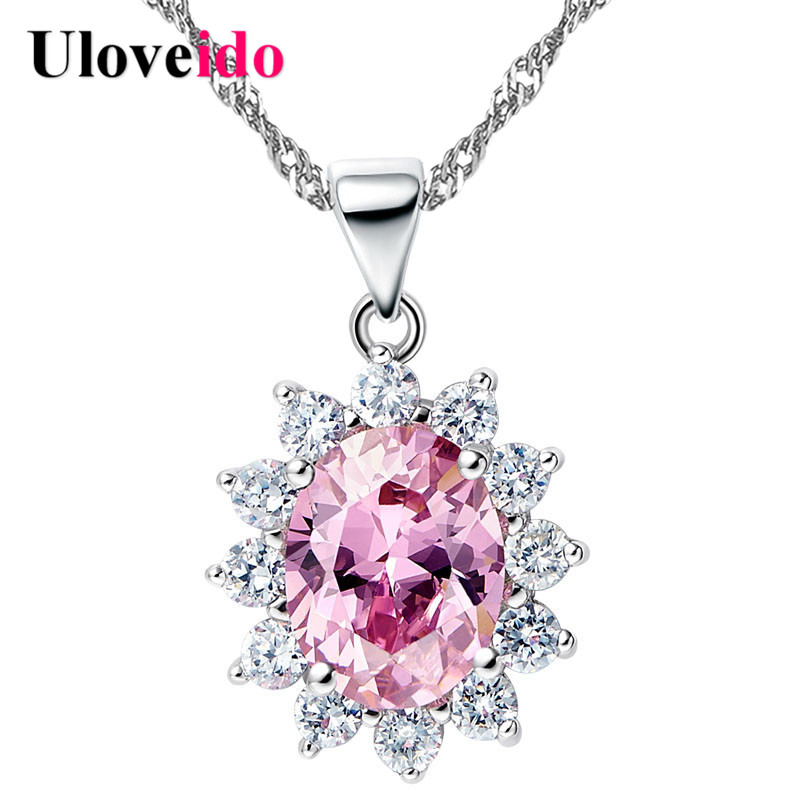 5% Off Silver Color Chain Pink Green Stone Collares Necklaces & Pendants Jewellery White Flower Necklace Women Uloveido N1143