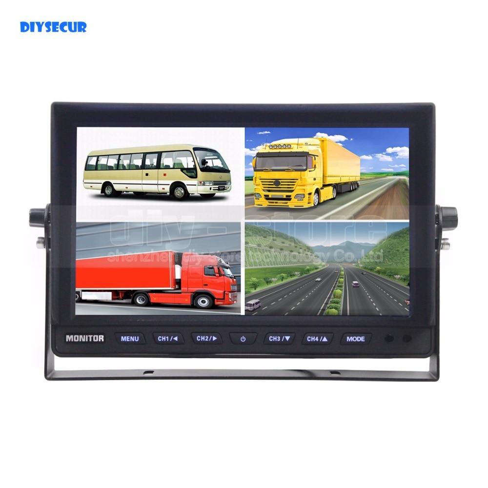 DIYSECUR DC12V-24V 10 Inch 4 Split Quad LCD Screen Display Color Video Monitor Screen For Video Surveillance System