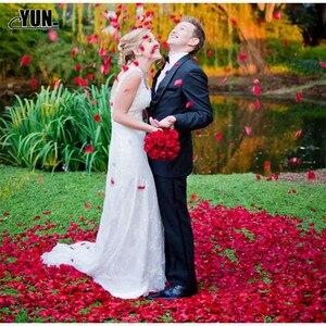 Image 5 - A. 1000Pcs matrimonio allingrosso petali di rosa decorazioni fiori poliestere matrimonio rosa nuova moda 6D
