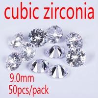 Wholesale Jewelry Supplies Swiss AAA Grade CZ Cubic Zirconia Round Zircon 9 0MM DIY Jewelry Findings