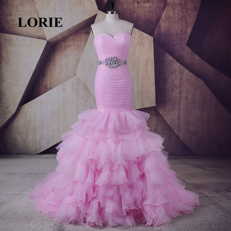 LORIE Roze Avondjurk Sweetheart Pleats Kralen Sjerpen Ruches Mermaid Prom Dress voor Party Gown abendkleid abiye elbise 2017