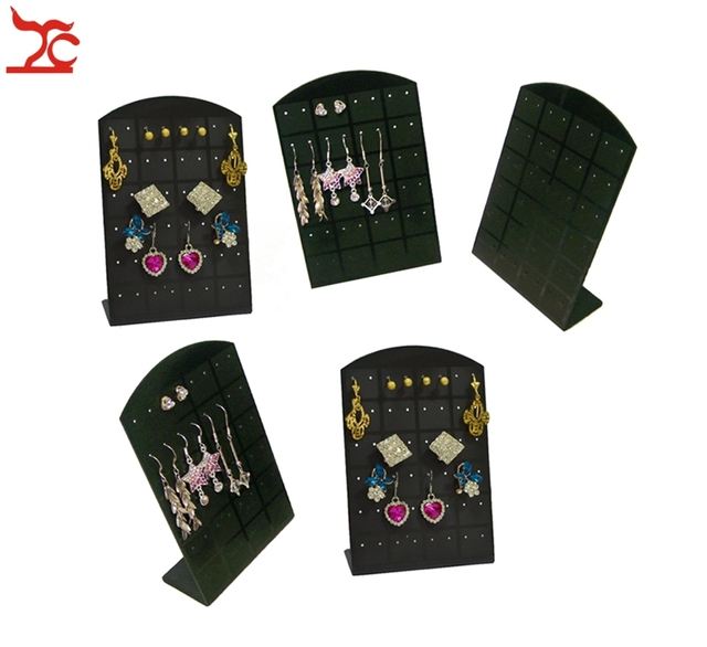 Popular 5pcs/Lot Jewelry Display Holder 24Pairs 48 Holes Earring Organizer Black L Acrylic Easel Showing Stand Hot Sale