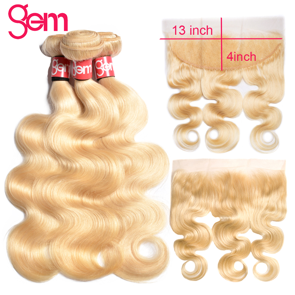 613 Blonde Bundles With Frontal Brazilian Body Wave With Frontal Remy Blonde Human Hair 3 Bundle