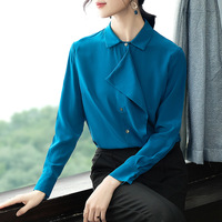100% шелк сплошной однобортный отложной воротник блузка 2019 новые женские весенне летние рубашки с длинными рукавами