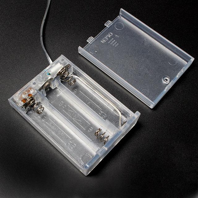 1 قطع شفافة حالة البطارية حامل مربع مربع بطارية 3xaa 4.5 فولت مع no/off زر التبديل و الأسلاك الرصاص ل aa بطارية قابلة للشحن