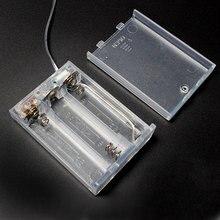 1 STKS Transparante Batterij Doos 3xAA 4.5 V Batterij Houder Box Case Met GEEN OFF Knop Switch & Draad Lead Voor AA Oplaadbare Batterij