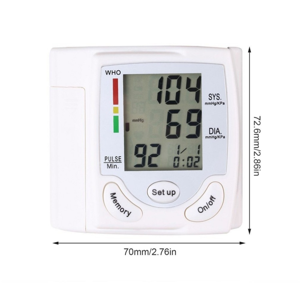 LCD Display Sphygmomanometers pulsometer Wrist Blood Pressure Monitor Heart Beat Rate As picture send free gift 7