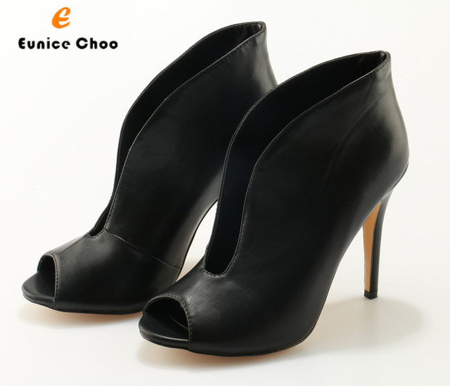 Eunice Choo Black Leather Peep Toe Women Ankle Boots Slip On V Open High  Heel Short Boots Office Ladies Sexy Dress Shoes c0cc1a54fac7