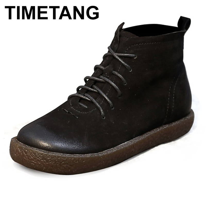 TIMETANG Ankle Boots Women Genuine Leather Shoes Lace Up Ladies Boots Retro Low Heel Rubber Boots Women Autumn Boots retro engraving and lace up design women s sweater boots