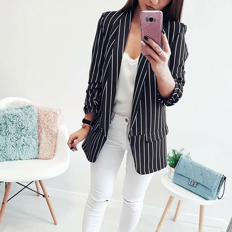 2018 Spring Autumn New Women Striped Suit Jacket Formal Blazer Women Blazer Work Office Business Suit Outwear Leisure Female XL