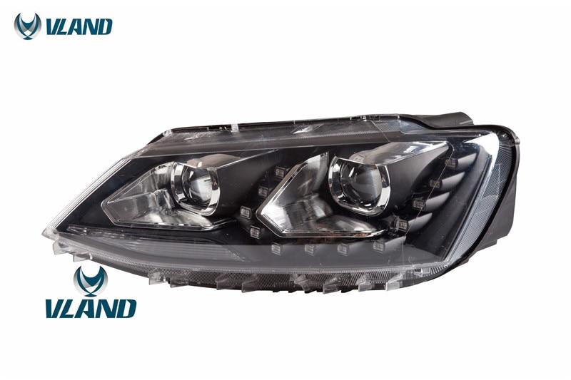 Free Shipping for VLAND Car Head Lamp For VW Sagitar LED Headlight 2012-2016 Year BI Xenon Lens free shipping for vland factory for car head lamp for audi for a3 led headlight 2008 2009 2010 2011 2012 year h7 xenon lens
