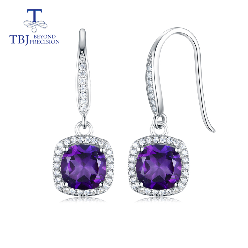 TBJ,Drop hook earring with natural african amethyst cushion 7mm 2ct up gemstone fine jewelry for women daily wear gift wwd women s wear daily 2012 11 26