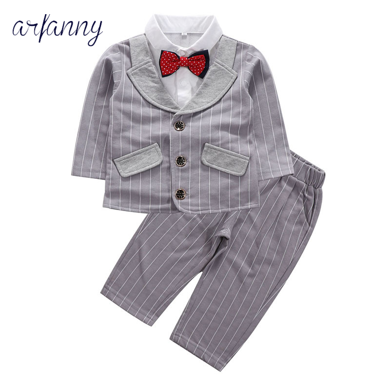Baby Boys Suits Clothes baby boy gentleman suit children striped two-piece bow 0 1 2 3 4 year kids weddings formal clothing