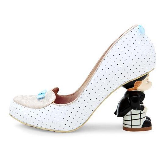 Ручной Работы Кукла странные Каблучки Для женщин Насосы Высокие каблуки Свадебная женская обувь сладкий горошек принт Бабочка узел Для жен