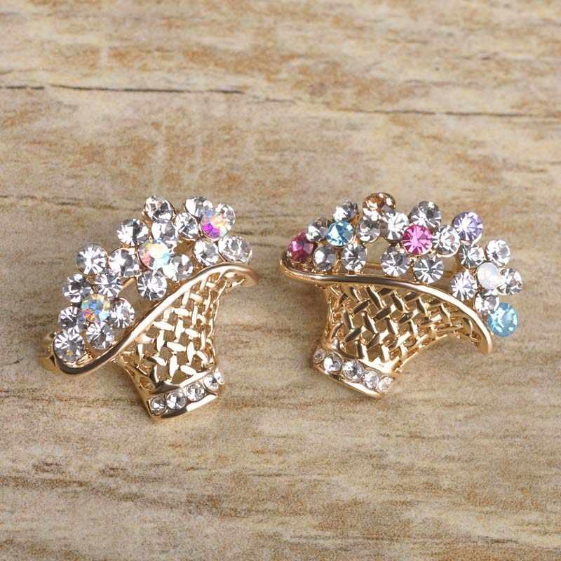 Blucome Kecil Cute Bros Bunga Tanaman Bentuk Kalajengking Warna Emas Perhiasan Pin Wanita Gadis Aksesoris Tas Syal Gesper Topi Pin