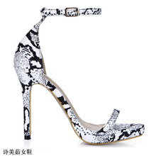 Women'S 2016 Sandals, Women'S Spring Mature Sexy Female Sandals And Black And White Snake Belt Sexy Heels 0640A-13e