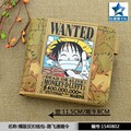 Brown Anime One Piece the WANTED Luffy Horizontal Wallet/Short Purse With Button