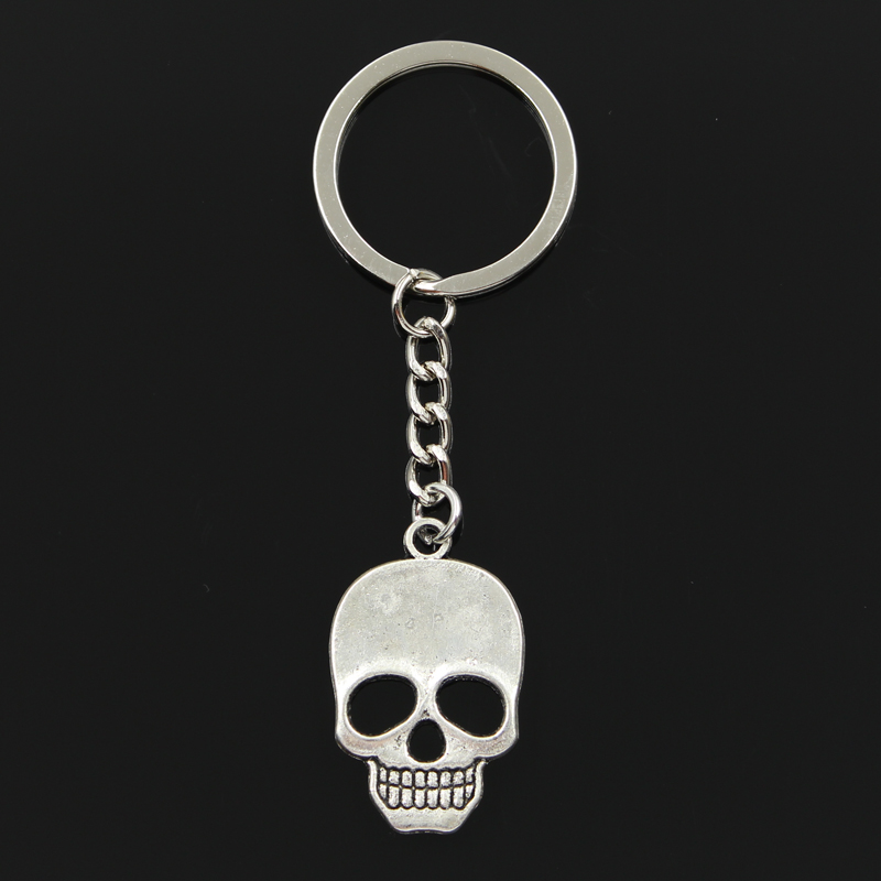 Fashion 3cm Key Ring Metal Key Chain Keychain Jewelry Antique Bronze Silver Plated Skeleton Skull 35x22mm Pendant
