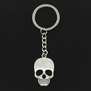 Fashion 3cm Key Ring Metal Key Chain Keychain Jewelry Antique Bronze Silver Color Plated Skeleton Skull 35x22mm Pendant(China)